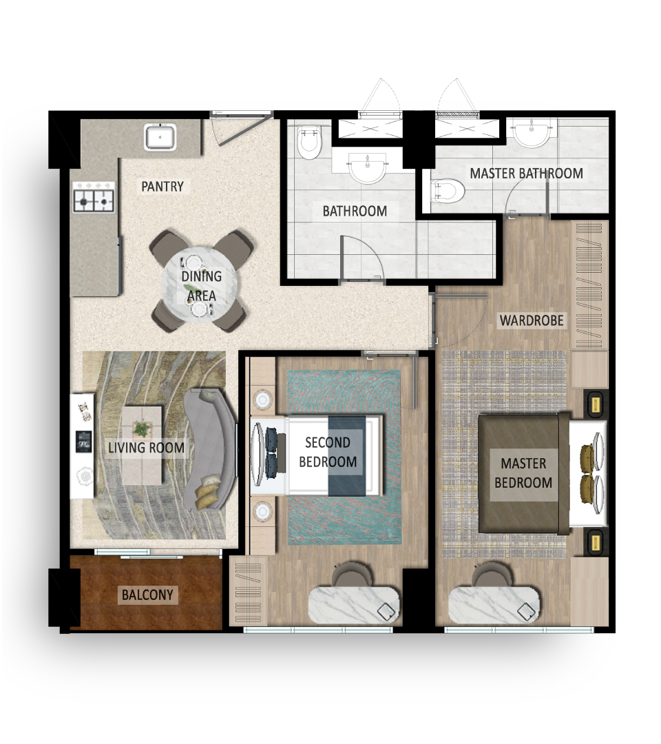Reiz 2 Bed Room Junior B Floorplan