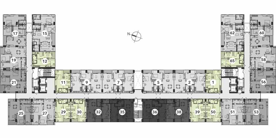 Reiz 1 Bed Room Floor Plan typical 2