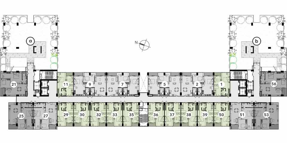 Reiz 1 Bed Room Floor Plan typical 3